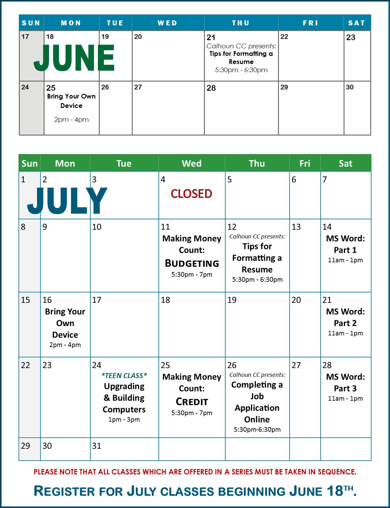 TC June-July Calendar B